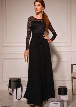 Кружевное вечернее платье-макси