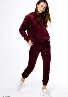 Вельветовый бордовый костюм