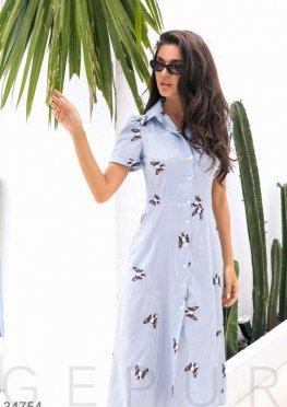 Удлиненное платье-рубашка