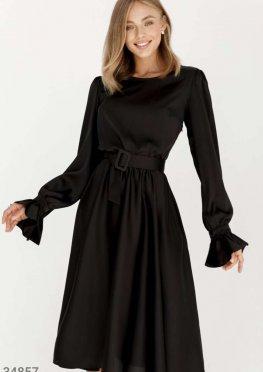 Черное шелковое платье Gepur