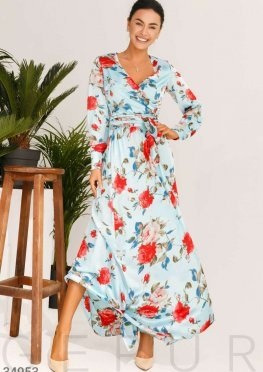 Цветочное шелковое платье