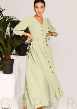 Оливковое платье-макси
