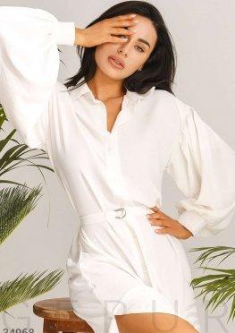 Молочно-белое платье-рубашка