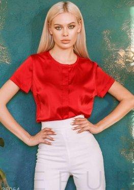 Красная шелковая блуза