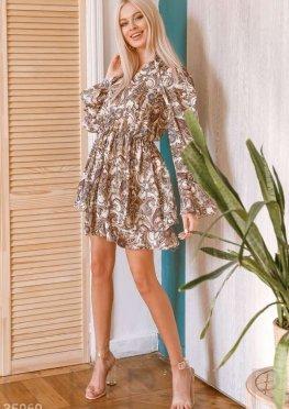 Платье-мини в орнамент бута