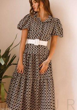 Платье в орнамент с поясом