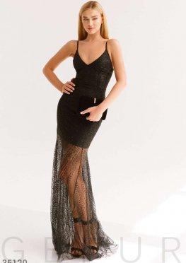 Изящное платье-годе черного цвета
