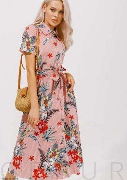 Платье-рубашка с тропическим принтом