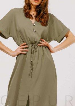 Платье свободного кроя оттенка хаки