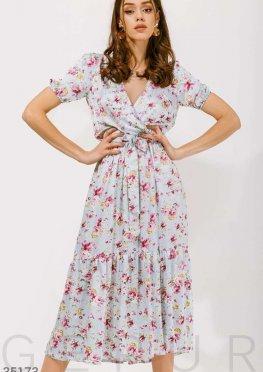 Цветочное платье на запа?х