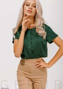 Изумрудная блуза из шелковой ткани