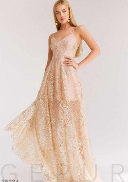 Сияющее золотистое платье Gepur