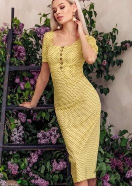 Желтое платье в гороховый принт