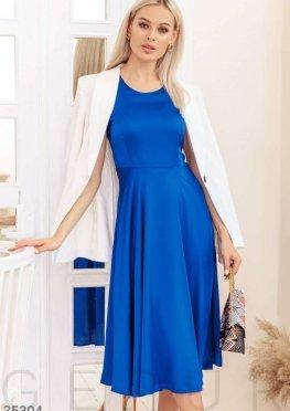 Синее шелковое платье-миди