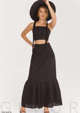 Черная легкая юбка-макси