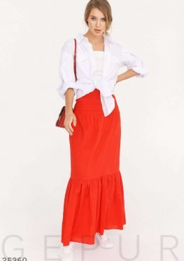 Красная многоярусная юбка-макси