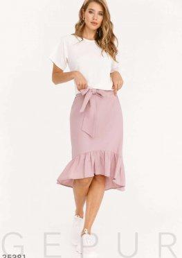 Нюдовая юбка с воланом