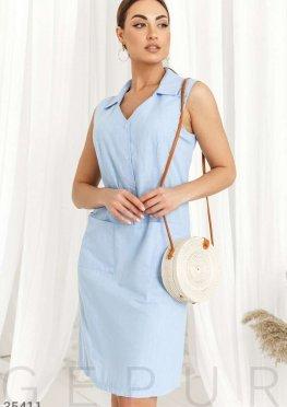 Комфортное платье-рубашка голубого цвета