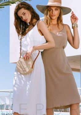 Легкая юбка-миди бежевого цвета