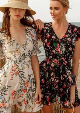 Воздушное шифоновое платье с цветочным принтом