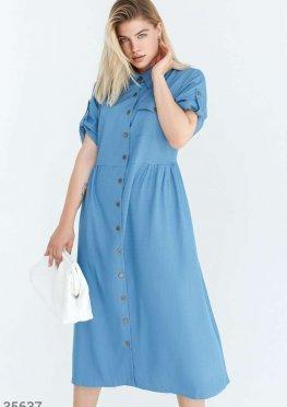 Универсальное платье-рубашка синего цвета