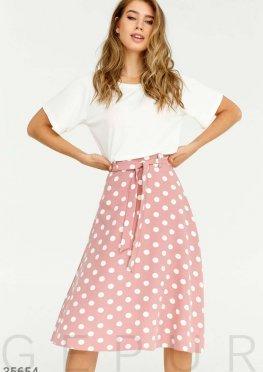 Легкая юбка в крупный белый горошек