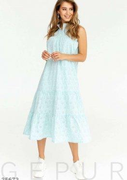 Платье бирюзового цвета свободного кроя
