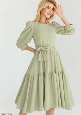 Мятное платье с многоярусной юбкой