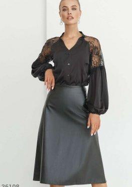 Ультрамодная кожаная юбка-миди