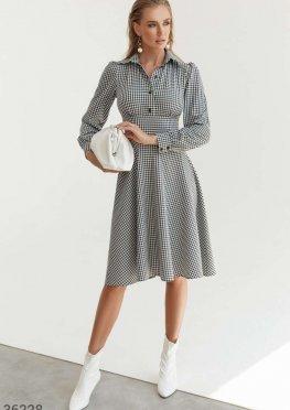 Стильное твидовое платье в клетку