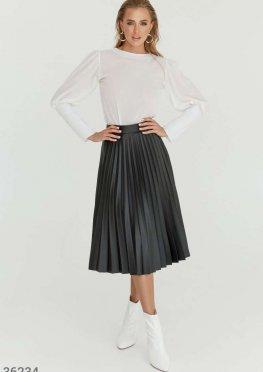 Кожаная юбка-плиссе