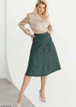 Изумрудная замшевая юбка-миди