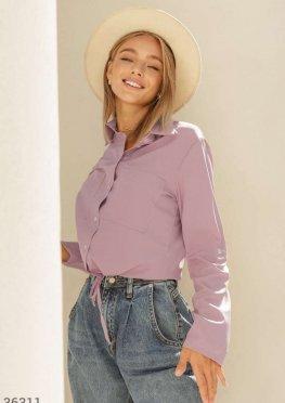 Пудровая блуза в рубашечном стиле
