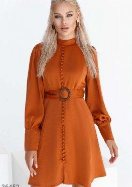 Терракотовое платье а-силуэта