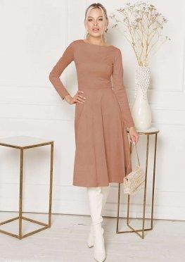 Платье-миди из замшевого материала