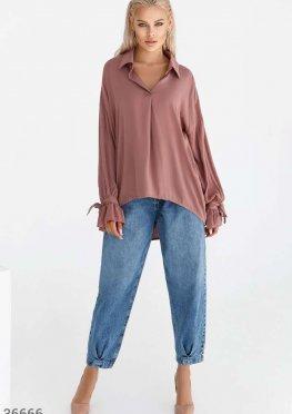 Хлопковая oversize-рубашка бежевого цвета