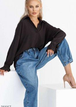 Черная асимметричная рубашка