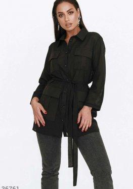 Полупрозрачная черная блуза с карманами