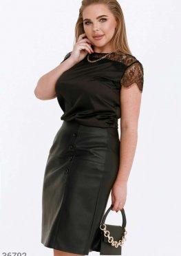 Черная шелковая блуза