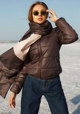 Шоколадная куртка с шарфом