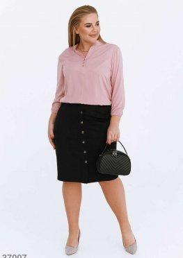 Черная юбка из бархатной замши
