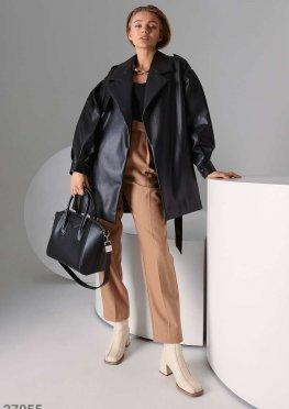 Приталенная кожаная куртка с поясом