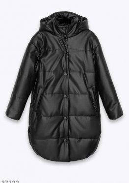 Утепленная куртка из черной кожи