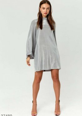 Серебристое платье-мини