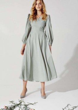 Мятное платье в гороховый принт