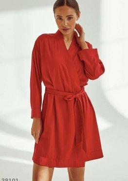 Красный шелковый халат