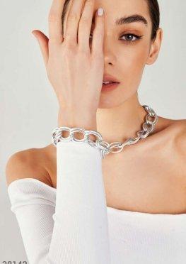 Двойной серебристый браслет