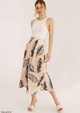 Расклешенная юбка с тропическим принтом