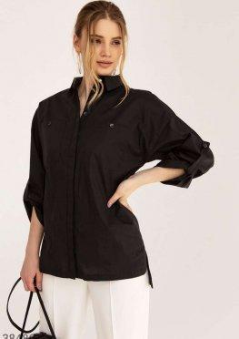 Черная рубашка с разрезами