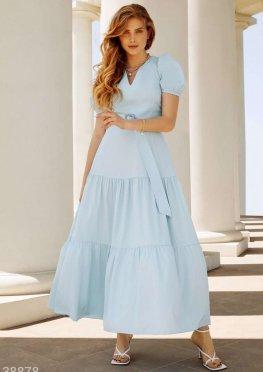 Голубое воздушное платье